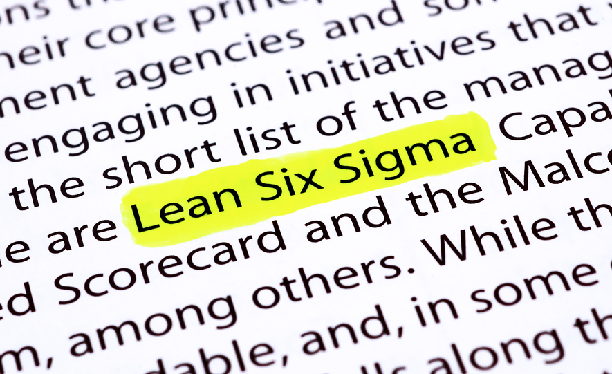 The words Lean Six Sigma highlighted with a yellow marker