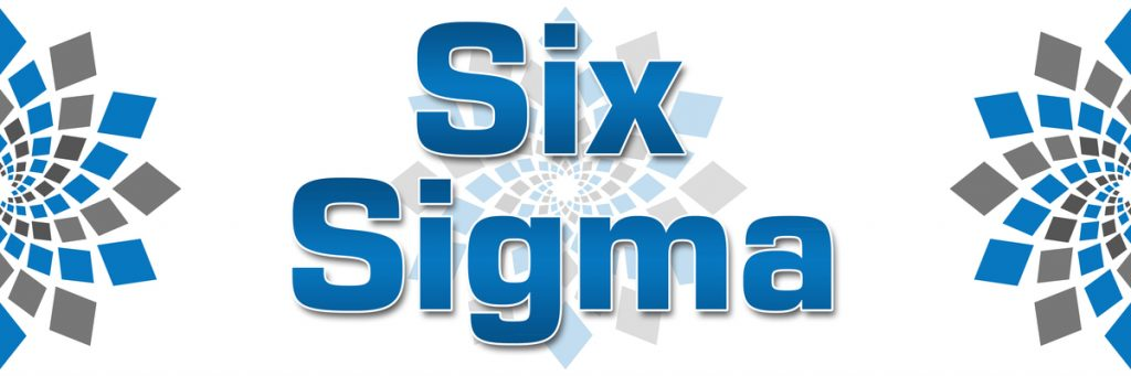 Six Sigma concept image with text over white background having abstract elements.