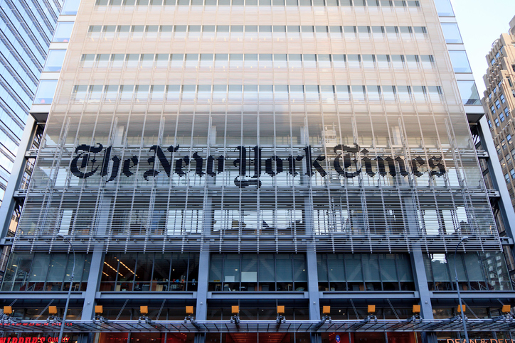 New York, USA - June 7, 2014: Facade of the New York Times headquarters building on 8th Ave. in Midtown Manhattan. The building was completed in 2007. The New York Times is an american daily newspaper that was founded in 1851.